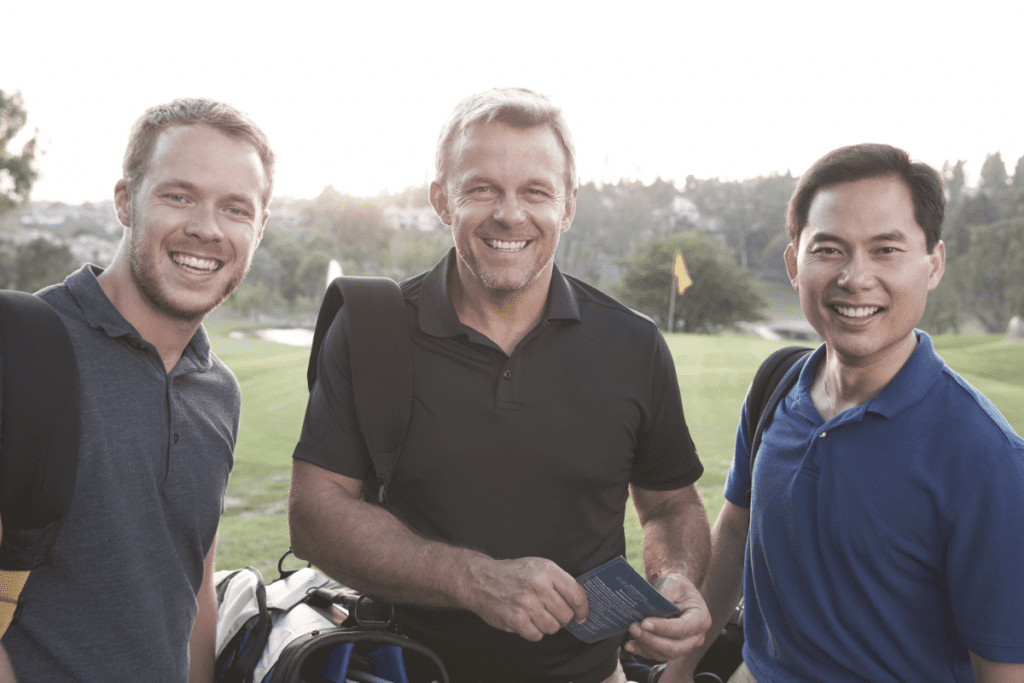 Three Friends Golfing