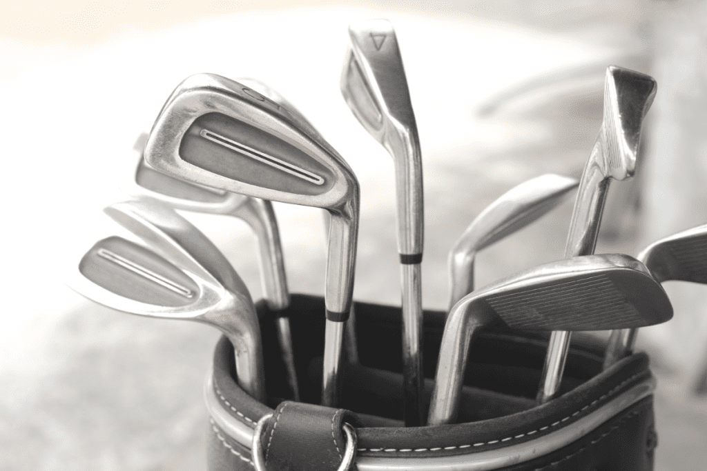 A Set of Cavity Back Irons in a Golf Bag