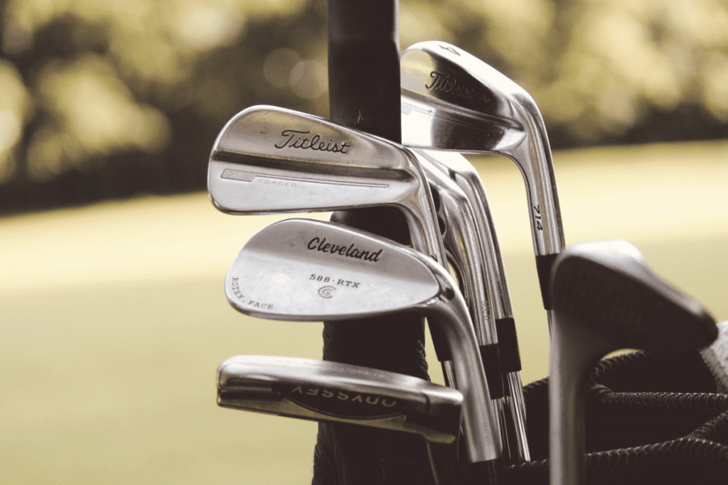 Muscle back blades and wedges in a golf bag