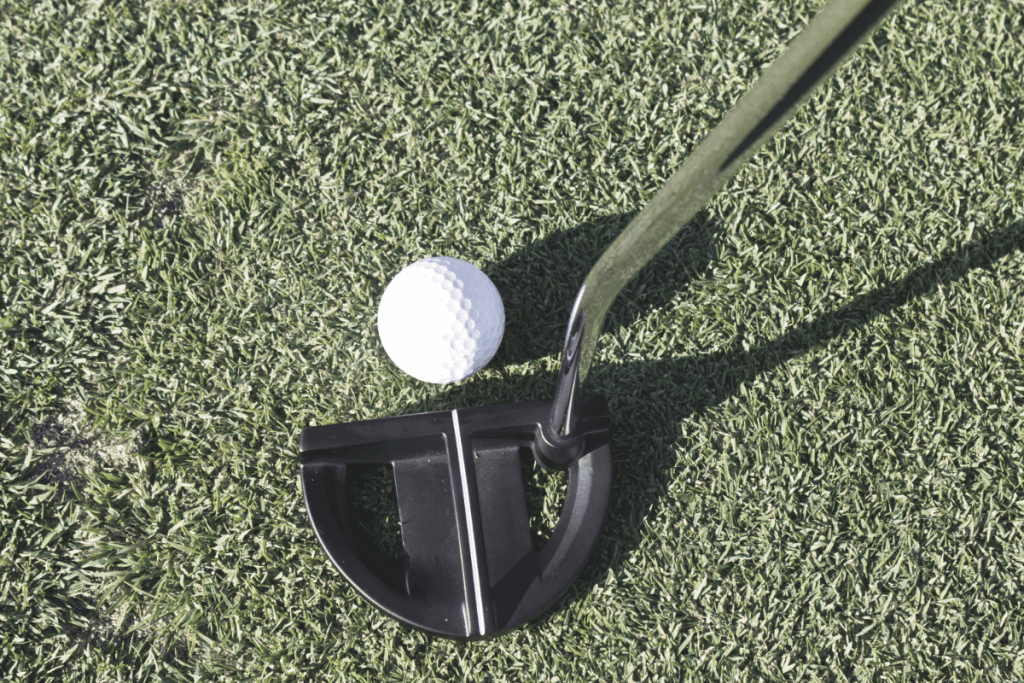 left handed mallet putter resting behind ball