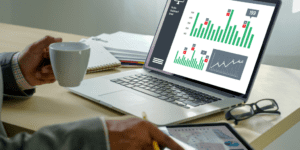data and analytics on a laptop